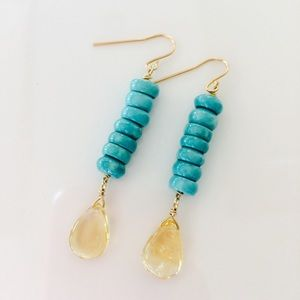 Gemstone SUNNY DAY earrings turquoise citrine gf